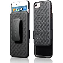iPhone 8 / iPhone 7 Holster Case, Aduro COMBO Shell & Holster Case - Super Slim Shell Case with Built-In Kickstand, Swivel Belt Clip Holster for Apple iPhone 8 and iPhone 7 (Black)