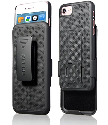 Aduro iPhone 8/7 Holster Case, Combo Shell & Holster Case - Super Slim Shell Case with Built-in Kickstand, Swivel Belt Clip Holster for Apple iPhone 8, 7 (Iphone Holster With Belt Clip)