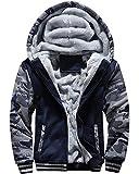 MACHLAB Men's Pullover Winter Workout Fleece Hoodie Jackets Full Zip Wool Warm Thick Coats Dark Blue US XXL(Tag 3XL)