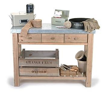 Rempotage avec banc, Table, plan de travail Zinc: Amazon.fr: Jardin