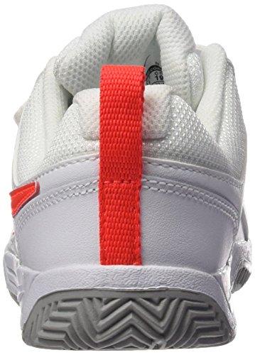 Nike Lykin 11 (Psv), Zapatillas de Tenis para Niñas Blanco / Naranja / Gris (White / Bright Crimson-Wolf Grey)
