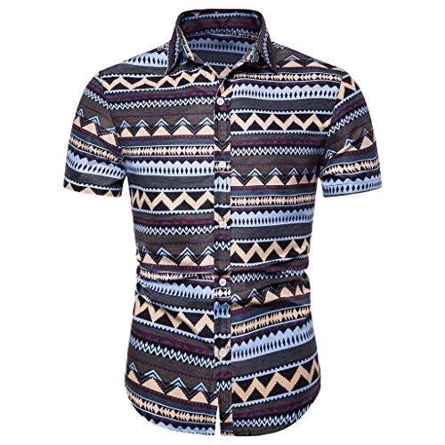 Shirt Hawaiian Shortsleeve Hawaiian-Print Leaves Flowers Summer Basic T Shirt Blouse Fit Slim Printed Top Men (M,2- Purple)