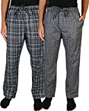 Beverly Hills Polo Club Men's Woven Plaid Sleep Lounge Pajama Pants (2-Pack), Grey Plaid/Charcoal Plaid, Medium (32-34)'