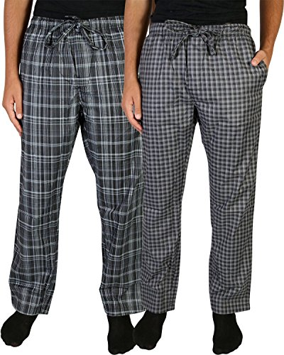 Beverly Hills Polo Club Men\'s Woven Plaid Sleep Lounge Pajama Pants (2-Pack), Grey Plaid/Charcoal Plaid, Small (28-30)'