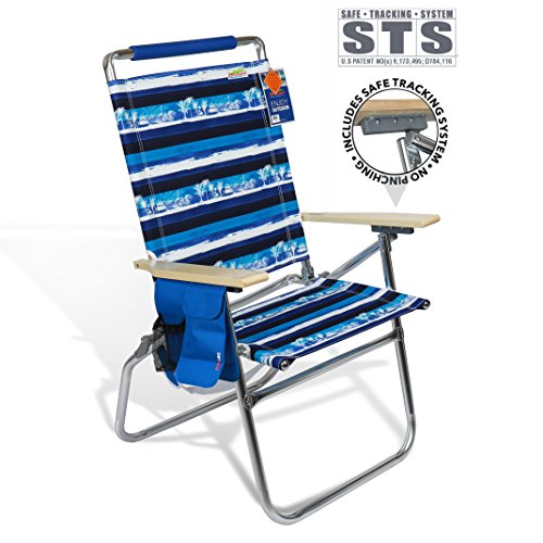 - High Seat Beach Folding Chair Lightweight Alumium Frame Recline with Cup Holder and Storage Pouch for Outdoor Camping Hiking