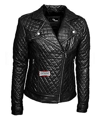 e09157c0d8e7d leatherly Femme Veste Blouson Femme Perfecto matelassé Noir Authentique  Cuir Veste Blouson- 4XL