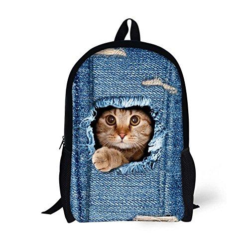 HUGSIDEA Vintage Denim Backpack Travel Rucksack Cute Kitty Cat Laptop Kid School Bag - Kitty School Bag