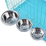 Topbeu Removable Pet Dog Bowl Stainless Steel Puppy Cat Cage Hanging Single Bowl Food Dish Feeder (L)
