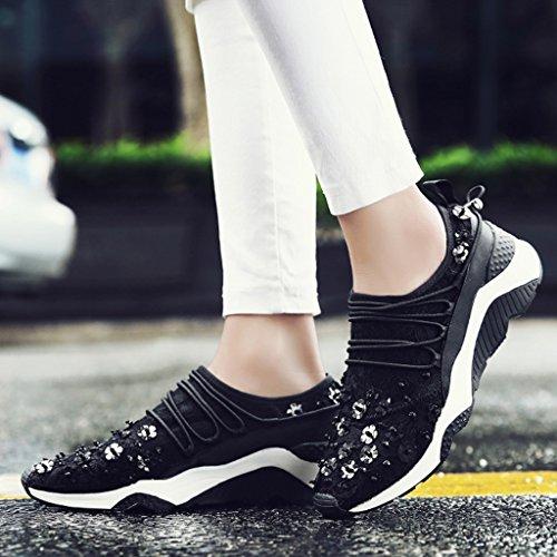 HWF da fondo spesso 36 casual corsa donna in Colore sportive Nero scarpe singole Rosa donna scarpe Scarpe rete a Scarpe donna pizzo da traspirante piatto dimensioni estive O6wqPWOr