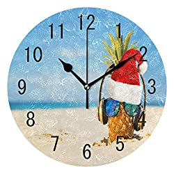 ALAZA Home Decor Christmas Pineapple Fruit Tropical Ocean Beach Round Acrylic 9 Inch Wall Clock Non Ticking Silent Clock Art for Living Room Kitchen Bedroom