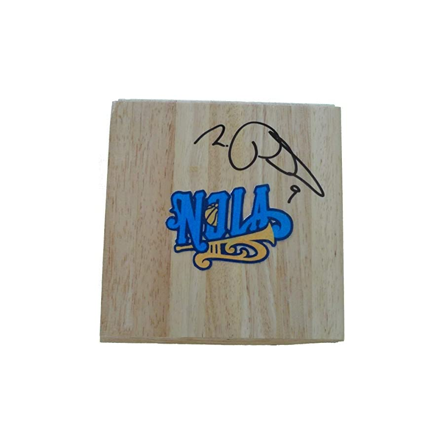 New Orleans Hornets Morris Peterson Autographed Hand Signed Logo 6x6 Parquet Floorboard with Proof Photo of Signing and COA Basketball Floor Boards