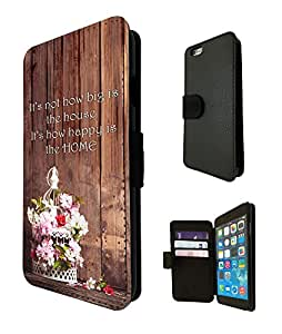 461 - Shabby CHic Floral Cage its Not how big is the house its how happy is the home Design Fashion Trend TPU Leather Flip Case For Apple iPhone 6 plus Full Case Flip TPU Leather Purse Pouch Defender Stand Cover