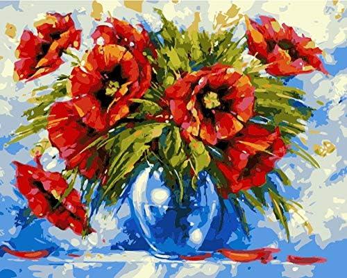 油絵 数字キット 手塗り によるDIYデジタル絵画 子供初心者-赤いケシ 50cmX40cm (フレームレス)
