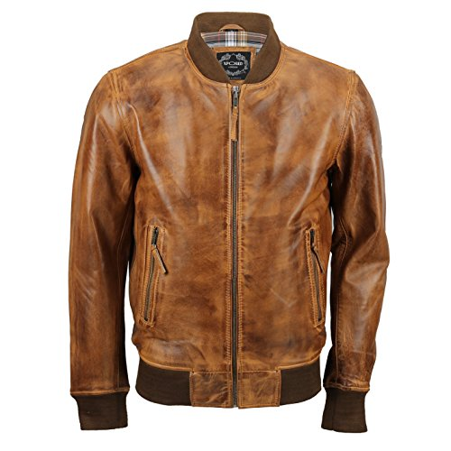 New Mens Soft Real Leather Bomber Jacket Vintage Biker Style in Black Rust Brown [No-Collar-Tan,XL]
