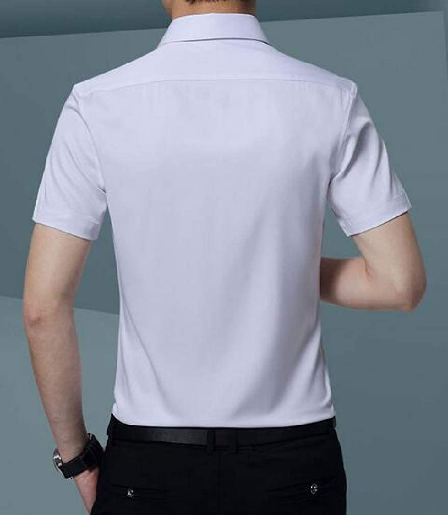 Sweatwater Mens Workwear Button Front Solid Short Sleeve Slim Dress Shirt