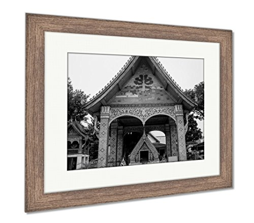 Marble Satin Gold Wall - Ashley Framed Prints Buddhist Temple With Gold Luang Prabang Laos, Wall Art Home Decoration, Black/White, 34x40 (frame size), Rustic Barn Wood Frame, AG5264431