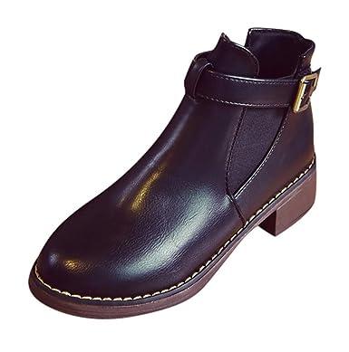 Amazon.com  Women Petty Ankle Boot Belt Buckle Shoe Chunky High Heel ... 0f6081599c1