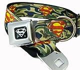 Green Camouflage Superman Logo Seat Belt Buckle Dog Collar 1.5″ x 18-32″, My Pet Supplies