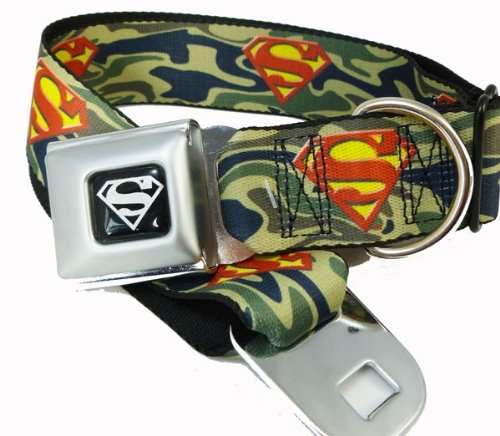 "Green Camouflage Superman Logo Seat Belt Buckle Dog Collar 1"" x 15-26"""