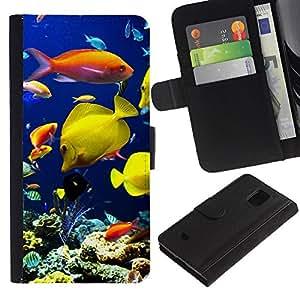 Samsung Galaxy S5 Mini / SM-G800 (Not For S5!!!) , la tarjeta de Crédito Slots PU Funda de cuero Monedero caso cubierta de piel ( Underwater Coral Reef Diving Scuba Fish)