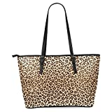 InterestPrint Animal Leopard Print Women's Leather Tote Shoulder Bags Handbags