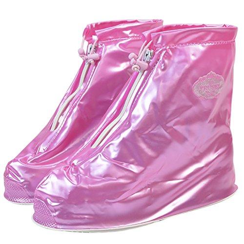 Qzunique Donna Impermeabile Stivali Da Pioggia In Gomma Antiscivolo Alla Caviglia Scarpe Da Pioggia Alta Rosa Brillante