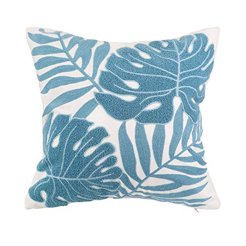 Hodeco Decorative Throw Pillow Covers Light Blue Leaves Embroidery Floor Pillows Cover for Couch 100% Cotton Cushion Cover Throw Pillow Case Teal Plant Monstera Leaves Loop Embroidered 18x18 1 Piece