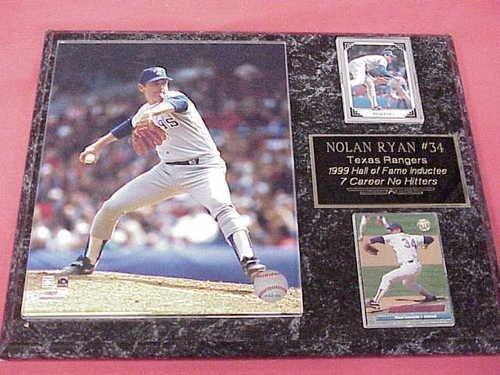 Rangers Nolan Ryan 2 Card Collector Plaque w/ 8x10 Action Photo