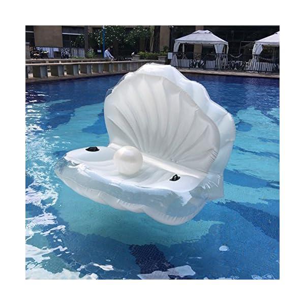 ZLYFA Piscina Gonfiabile di Bianco Shell per La Fila di Galleggiamento dell'Acqua della Chaise-Lounge della Sedia 7 spesavip