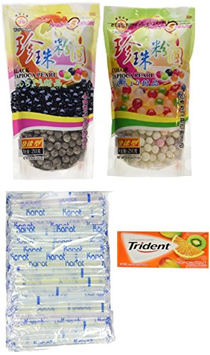 Large Pearl Tapioca - 2 Packs of Boba Tapioca Pearl Bubble With 1 Pack of 50 Boba Straw