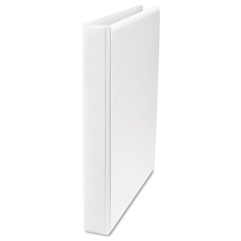 -- Economy D-Ring Vinyl View Binder, 1'' Capacity, White, 4 per Pack