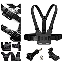 AxPower Adjustable Go Pro Chest Strap Mount Elastic Action Camera Body Belt Harness with J Hook For GoPro HD Hero 5 4 3+ 3