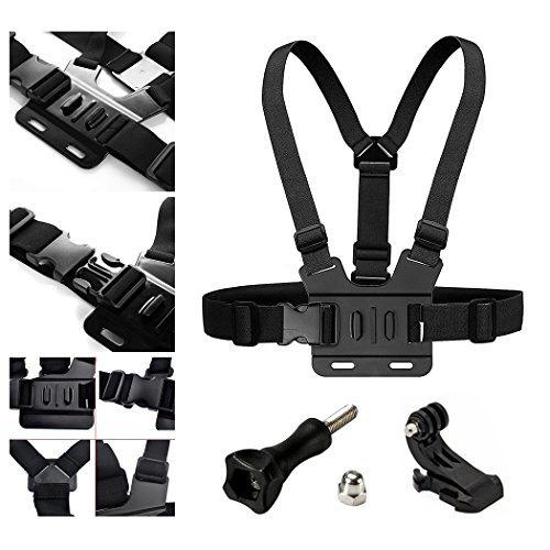 - Adjustable Chest Strap Mount Elastic Action Camera Body Belt Harness with J Hook for GoPro HD Hero 5 4 3+ 3 GoPro 6 7