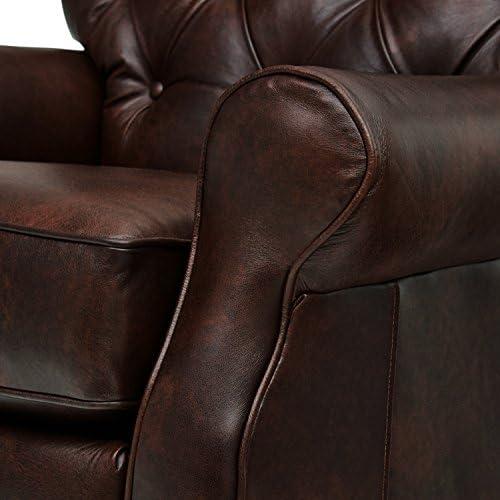 Amazon Brand Stone Beam Appleton Farmhouse Tufted Leather Recliner, 35 W, Driftwood