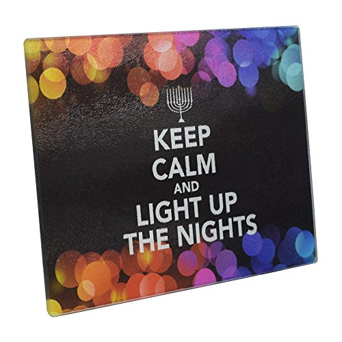 """The Kosher Cook Chanukah Themed Serving Tray - """"Keep Calm and Light Up The Nights"""" Decorative Tempered Glass Plate - 8"""" x 12"""" - Chanuka Party and Gift Items"""