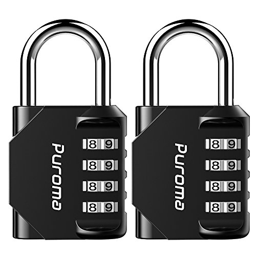 Puroma 2 Pack Combination Lock 4 Digit Padlock for School Gym Locker, Sports Locker, Fence, Toolbox, Case, Hasp Storage (Black)