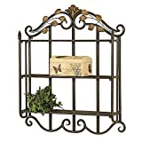 Metal Wall Shelf in Bronze with Gold Leaf Accents