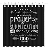 Wknoon 72 x 72 Inch Shower Curtain With Hooks, Christian Bible Verses Scripture Quotes Philippians 4-6 Be anxious for nothing