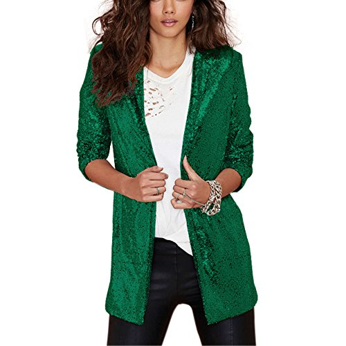 HaoDuoYi Women's Sparkly Sequins Pocket Side Open Front Casual Coat Jacket(M,Green) -