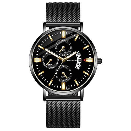 Pengy Men Watches Ultra Thin Minimalist Black Wrist Watch for Men Luxury Business Mens Watch Waterproof
