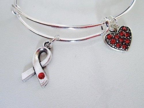 Heart Disease Awareness Adjustable Bangle Bracelet with Rhinestone