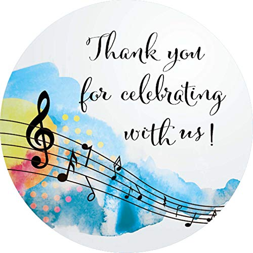 (40-Pack 2inch Musical Themed Thank You Stickers, Music Notes Birthday Party Sticker, Music Party Circle Decorations, Supplies, Favor Labels)