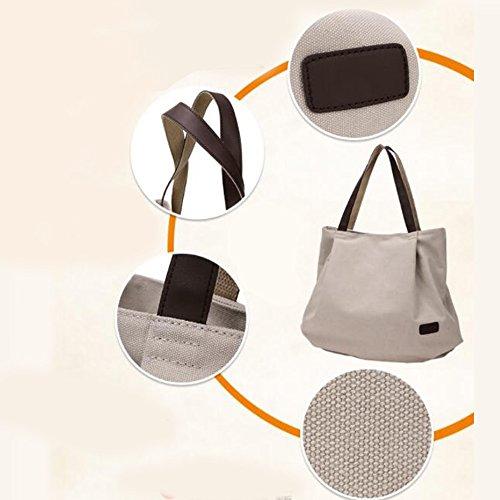 Donna Bag Handbag il Grande Semplice Hobo Shoulder Borsa Bianco Capacità Nuovo Nclon Tela Messenger Nero De Borse Riso RyStcq
