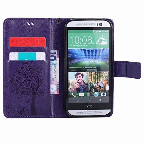 Yiizy HTC One (M8) Funda, árbol De Dibujo Diseño Solapa Flip Billetera Carcasa Tapa Estuches Premium PU Cuero Cover Cáscara Bumper Protector Slim Piel Shell Case Stand Ranura para Tarjetas Estilo (Púr