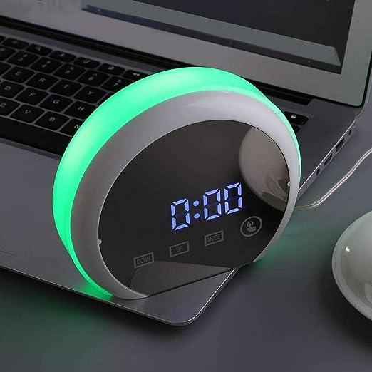 JBDGNZ Despertador Control táctil Reloj Despertador Snooze Espejo ...