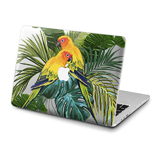Lex Altern MacBook Pro Case 15 Air 13 inch 12 11 2018 Cute Painted Parrots Clear Mac 2017 Retina Tropical Birds Hard Cover Palm Leaves Apple Laptop Protective Girls Hawaii Print Touch Bar Green Leaf -