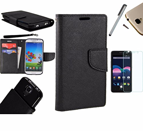 Photo - For Microsoft Lumia 550 Phone Case PU Leather Flip Cover Folio Book Style Pouch Card Slot Wallet + [WORLD ACC®] LCD Screen Protector+ Stylus (Black/Black)