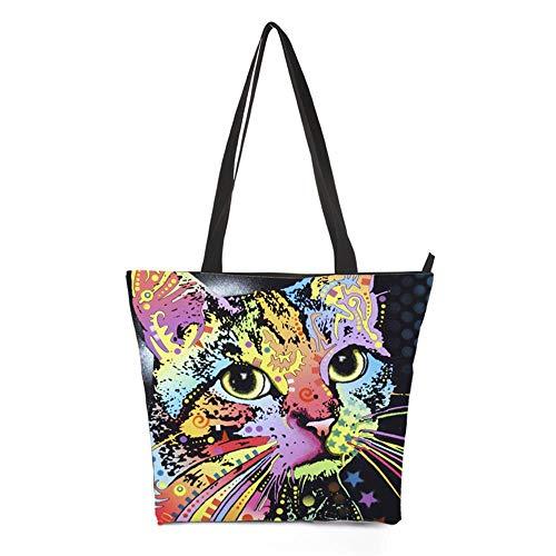 Stampato dipinta Canvas Libri Shopping Borsa di viaggio Casual To 3D a Maniglie School mano Cat Weohau Portable Zipper Borsa Fashion wqxY6IIXg