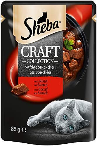 Sheba Craft Collection – Edles Nassfutter für Katzen – Feine Stückchen und Sauce im 85g-Portionsbeutel, verschiedene…