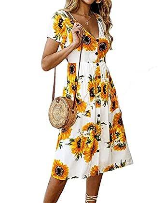 Women's Dresses- Summer Boho Sunflower Button V Neck Short Sleeve Midi Skater T Shirt Sundress with Pockets - White - Medium